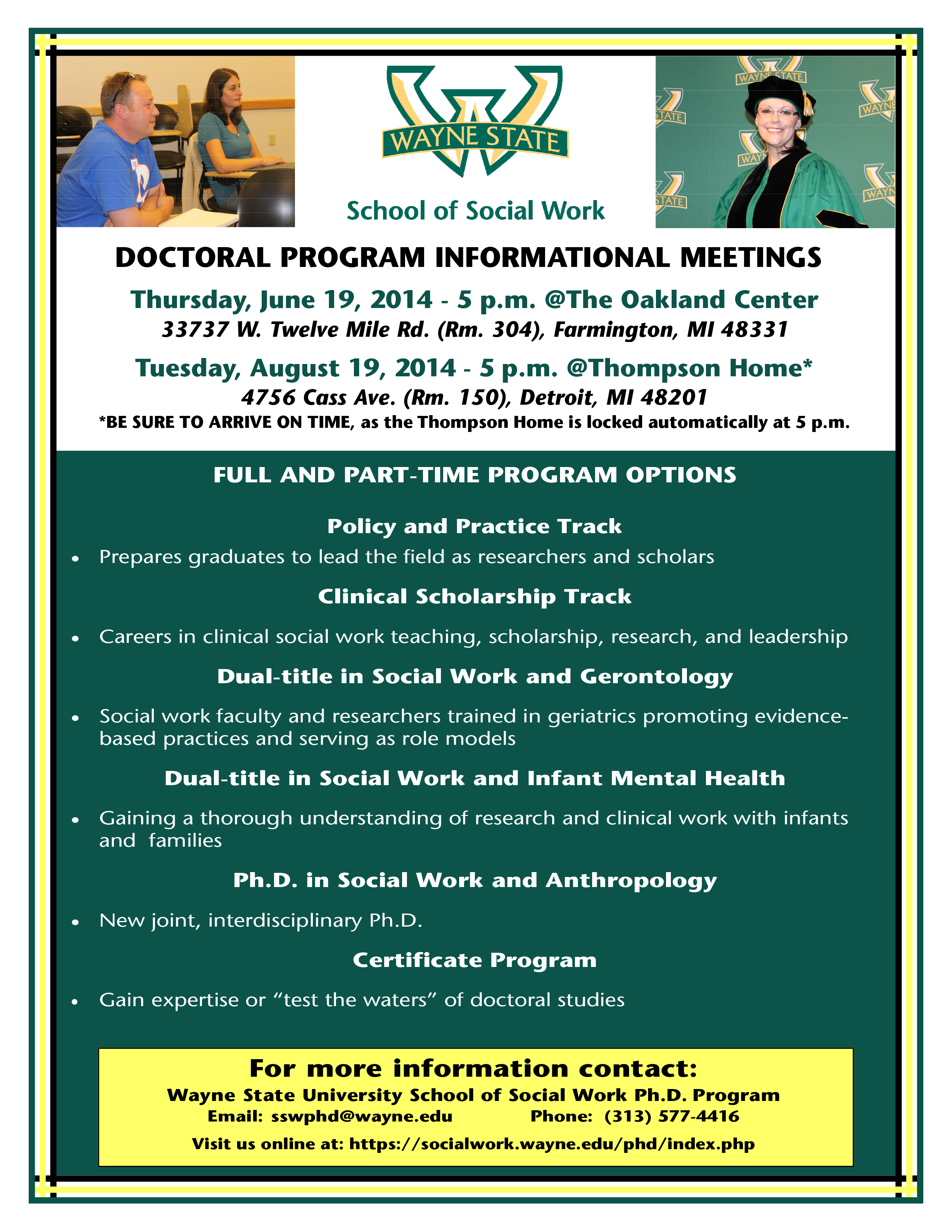Doctoral Program Informational Meetings School Of Social Work